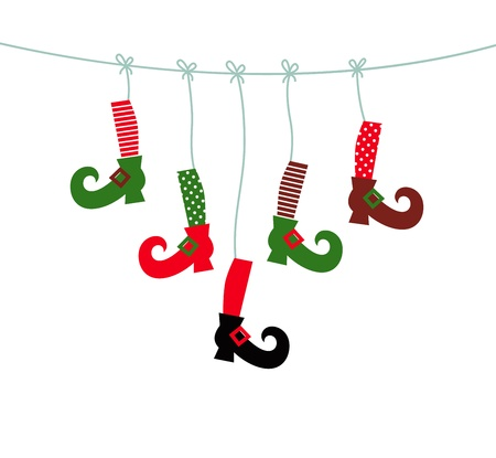 Cute colorful Santa legs handing Vector