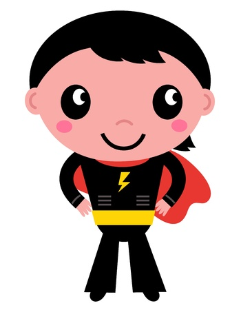 idol: Cute young Super hero boy. Vector Illustration