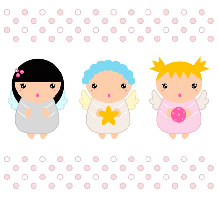 Cute Christmas Kawaii Angels.   Vector