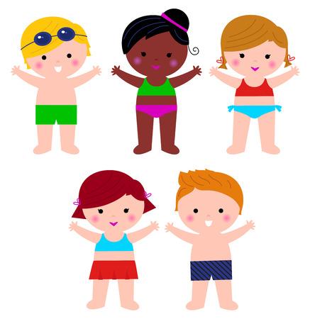 children swimming: Little cute colorful summer Kids.  Illustration