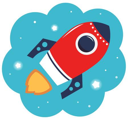 clound: Spaceship or Rocket in cloud. Vector Illustration