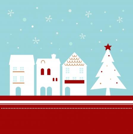 row of houses: Ciudad de invierno de Navidad con la nieve que cae. Vectores
