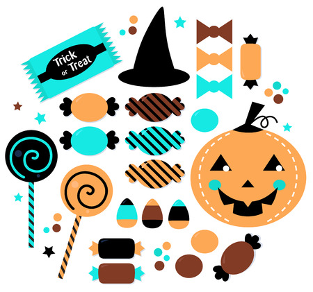 jelly head: Halloween Trick or Treat Candies  Vector Illustration