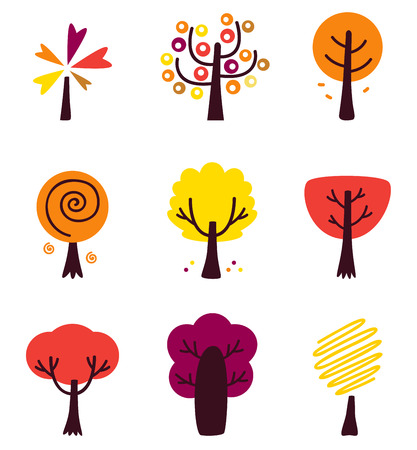 Colorful Autumn Vector Trees set isolated on white Vector