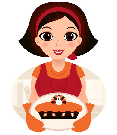 Vintage cooking Woman  Vector Illustration