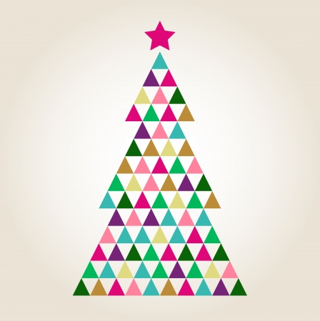 Xmas colorful mosaic tree with triangle shapes  Vector Illustration Illustration