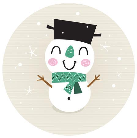 Vintage Snowman on snowing background  Vector cartoon Illustration Illustration
