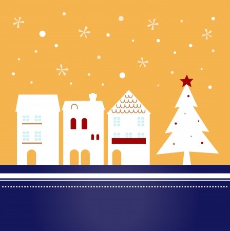 traditonal: Winter christmas town with falling snow  Vector Illustration
