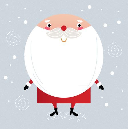 Père Noël avec sa barbe, de voeux mignonne de vacances de Noël Vector cartoon Illustration