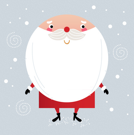 Santa with beard, cute greeting for Xmas holiday  Vector cartoon Illustration Illustration