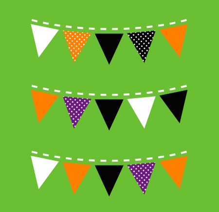 Halloween Bunting with triangle Flags  Vector Vector