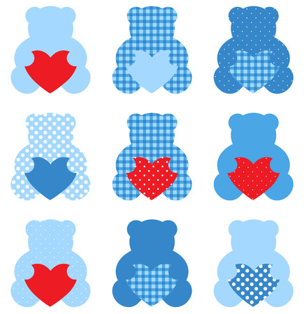 Cute Love Teddy Bear collection  Vector Illustration Vector
