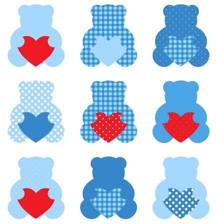 Cute Love Teddy Bear collection  Vector Illustration
