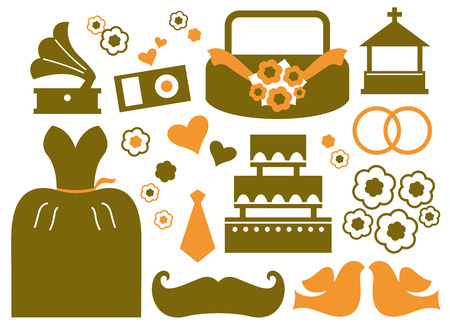 Wedding icons and design elements  Vector Vector