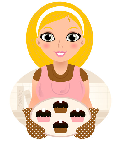 Vintage cooking Woman holding cookies. Vector Illustration