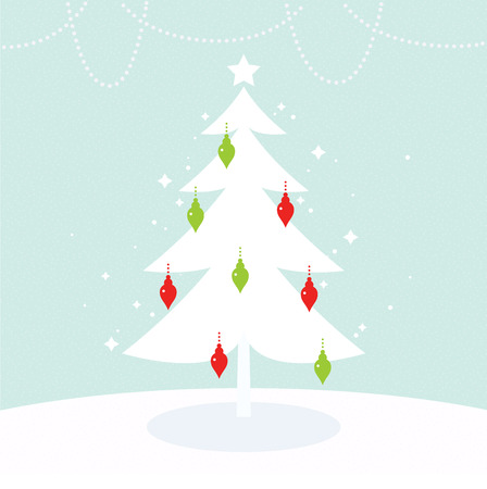Christmas Tree with green and red decoration. Vector   Vector