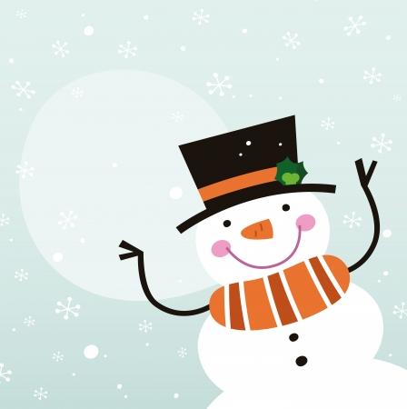 Bonhomme de neige heureux d'hiver sur la neige fond Vector Illustration