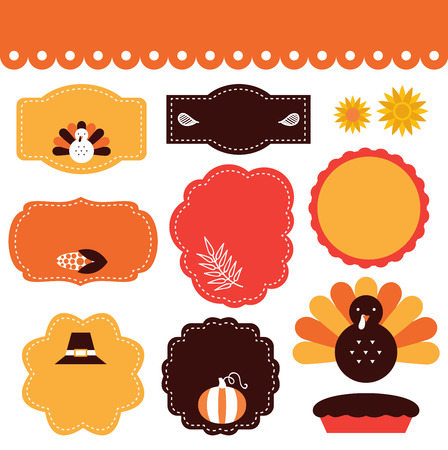 fall images: Thanksgiving frames and tags  Vector collection