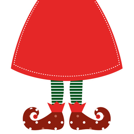 elf: Christmas elf legs with red skirt  Vector Illustration