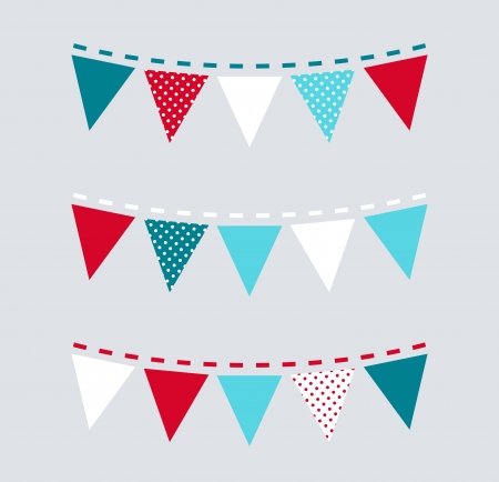 triangle flag: Christmas triangular retro buntings  Vector Illustration Illustration