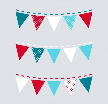 triangular flag: Christmas triangular retro buntings  Vector Illustration Illustration