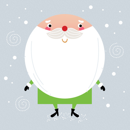 Simple stylized Santa on snowing christmas background  Vector cartoon Illustration Vector