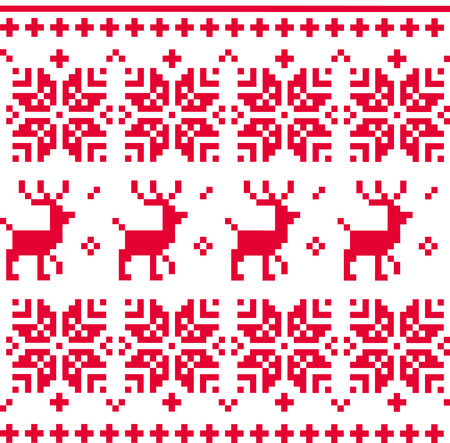Christmas knitted pattern with reindeer Vector