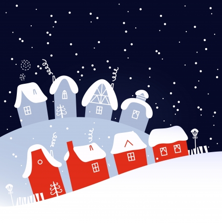 Christmas village on snowing background  Vector Illustration Vector