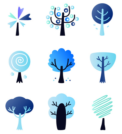 Abstract trees collection  Vector Illustration Vector