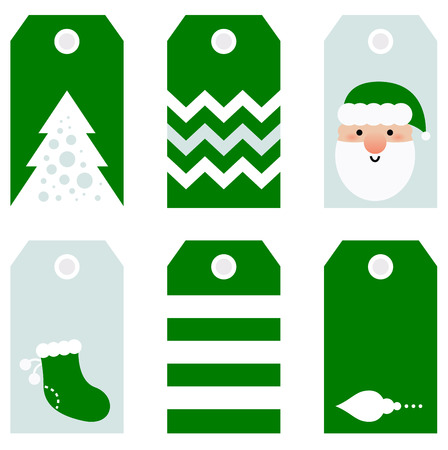 Beautiful Tags set for Christmas - isolated on white  Vector set Vector