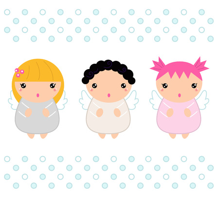 Adorable Christmas angels set  Vector cartoon Illustration Vector