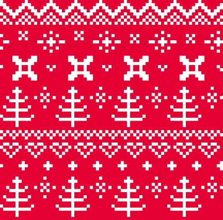scandynavian: Traditional christmas knitted ornamental pattern  with trees