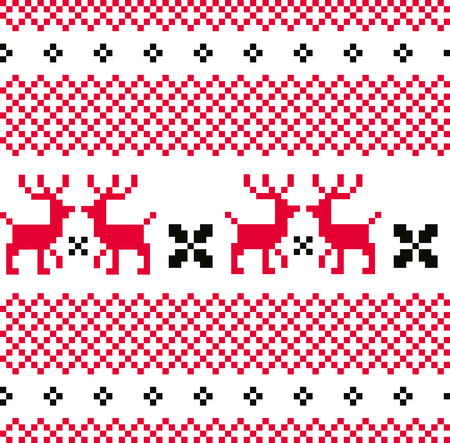 Norwegian seamless pattern with Deers  Vector Illustration Vector