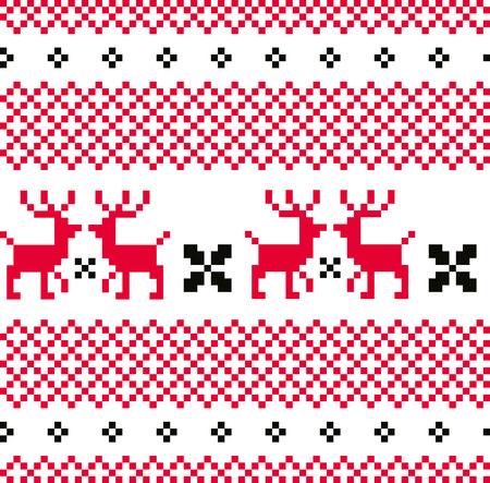 Norwegian seamless pattern with Deers  Vector Illustration