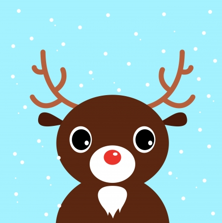 Xmas Deer on snowing background  Vector cartoon Illustration Ilustração