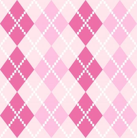 Argyle pattern in pink shades  Vector background