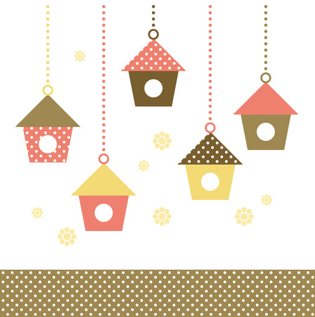 Cute spring colorful Bird houses set   vector   Vector