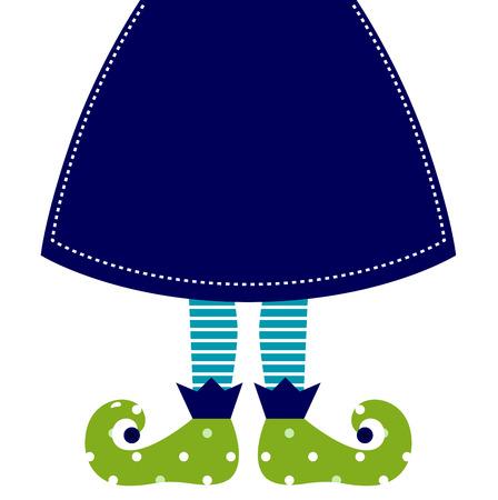 Christmas elf cartoon legs  Vector Illustration Vector