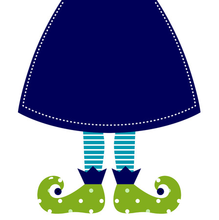 santa s elf: Christmas elf cartoon legs  Vector Illustration