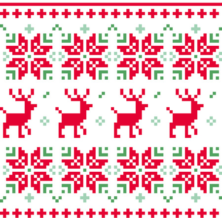 Christmas knitted pattern with reindeer and floral ornaments Vector