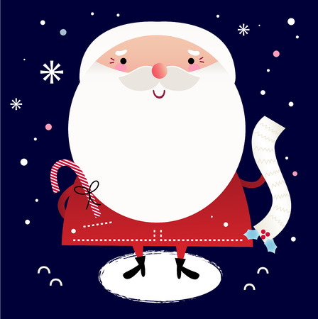 Cute Santa with note  Vector cartoon Illustration Vector