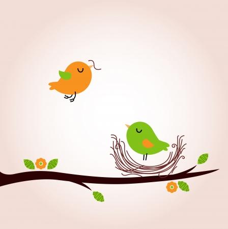 april beautiful: Bird nest - vector cartoon Illustration