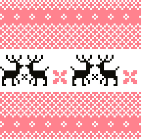 Cute Norwegian knitted pattern or background Vector