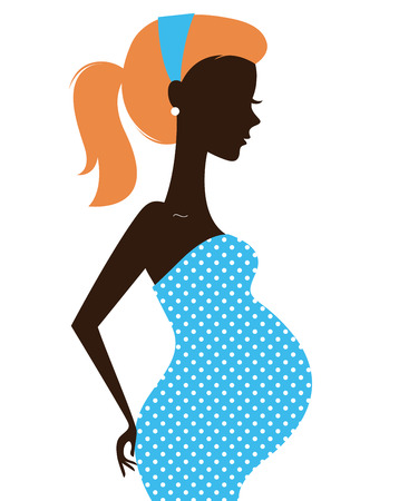 beauty care: Pregnant woman in blue dress