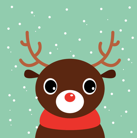 Beautiful cute xmas deer Illustration Vector