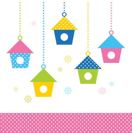 Colorful Birds houses isolated on white Vector