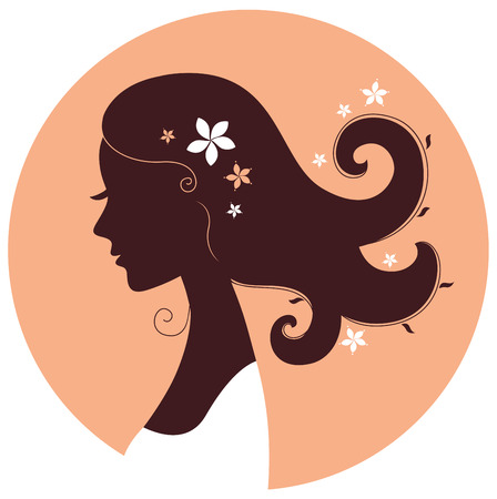 Floral woman head in circle brown and orange
