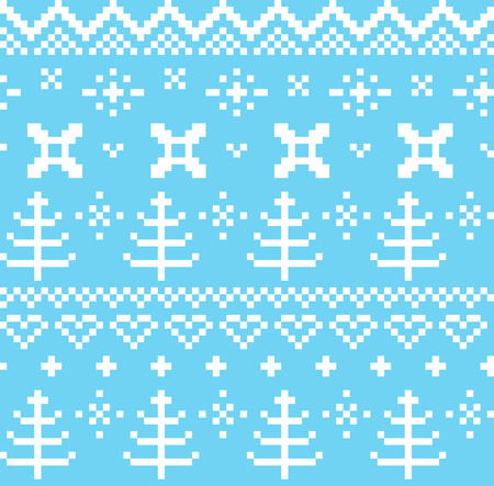 Traditional winter knitted pattern with trees Ilustração