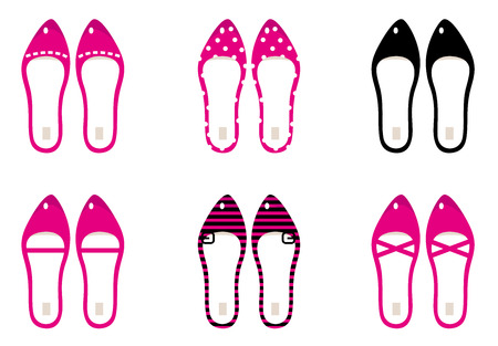 Female retro shoes collection  Vector Illustration