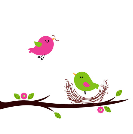 Beautiful cartoon Birds building Nest Illustration